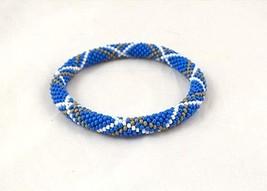 Blue Tartan Bracelet, bead crochet rope, beaded beadwork bracelet for women - $7.00+