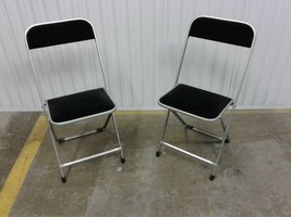 Pair Vintage Mid Century A. Fritz & Co Metal Folding Chairs Silver W/ Bl... - $93.50