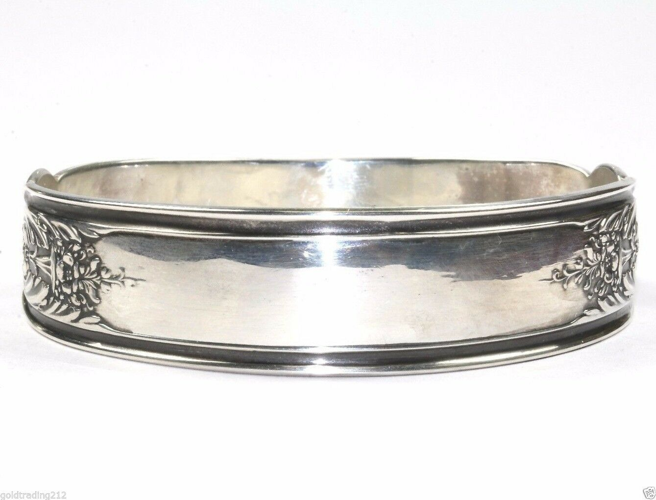 VINTAGE ANTIQUE FLORAL DESIGN BANGLE  BRACELET 925 SILVER BR 961