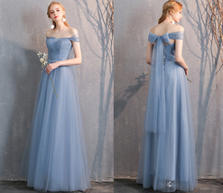 Floor Length Maxi Bridesmaid Dresses Tulle Wedding Dress Light Gray Off Shoulder image 12