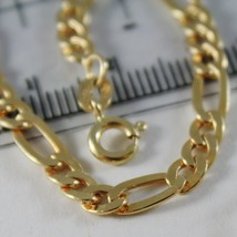 18K YELLOW GOLD BRACELET FLAT GOURMETTE OVAL 4.5 MM LINK, 21 CM, MADE IN ITALY image 2