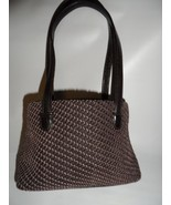 Small STONE MOUNTAIN Woven Rope and Leather Tote Handbag LN - $21.78