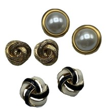 Lot of 3 Vtg Gold Tone Clip on Earrings Black White Enamel Round Faux Pearl - $23.33