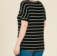 Black Striped Plus Top, Striped Womens Plus Top, Relaxed,Classic, Black White image 3