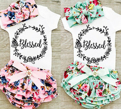 0 18M Newborn Baby Girls Cotton Tops Romper Floral Shorts Headband Outfi... - $13.50