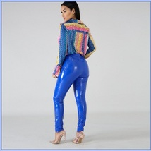 Bright Blue Tight Fit Faux Leather High Waist Front Zip Up Legging Pencil Pants image 2