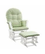 Nursery Glider Ottoman Set White Wooden Frame Green Chevron Cushions Bab... - $179.09