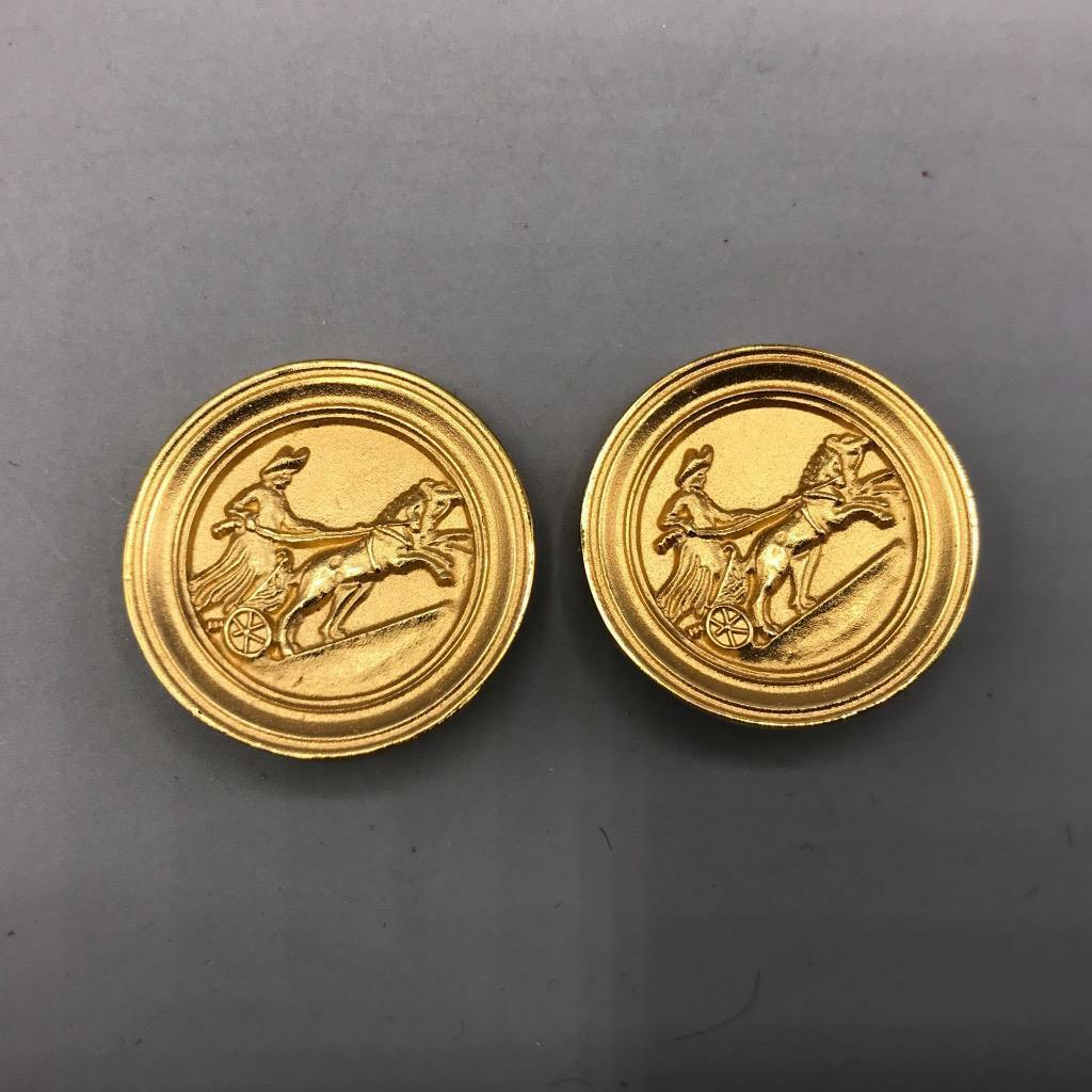 Vintage Gold Chariot Clip On Earrings