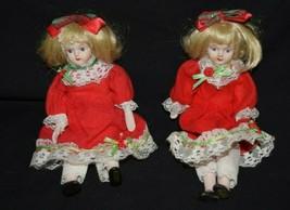 Vintage Porcelain Doll Blonde Girl Red Christmas Dress  - $23.33