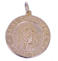 Saint Christopher Carrying Jesus Child Patron Safe Travel Rose Gold Pltd Charm - $64.58