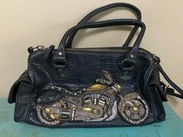 RARE Mary Frances Bead Motorcycle Purse Handbag JOY RIDE Black Croc Faux... - $48.37