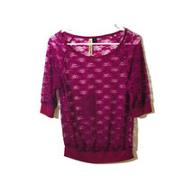 Eyeshadow Juniors Size Medium Purple Lace Top 3/4 Sleeves - $16.79