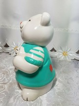 Vintage Teddy Bear Bank Figurine White Heart Hand Painted Ceramic image 2