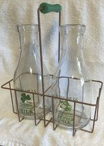 2 Milk Bottles w/ Metal Carrier Irish Hills Clover Farm Dairy New Vintage Style  image 3