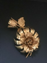 Vintage Dimensional Spikey Goldtone Flower w Bud Pin Brooch – 2 and 3/8t... - $14.89