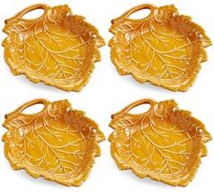 Martha Stewart Collection Harvest Leaf Appetizer Plates, Caramel Brown S... - $39.99