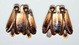 VTG RARE MATISSE Renoir Copper Yellow Orange Enamel Clip Earrings B - $39.60