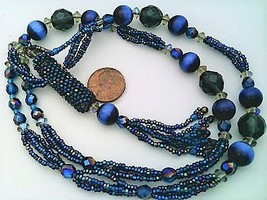 Dark Blue Beaded Aroma Vial Necklace 1 - $27.23