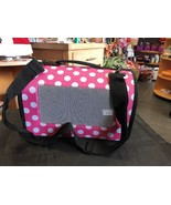 Pet Travel Carrier Pink With Big White Dots Zips Up Big Nylon Adjustable... - $26.78