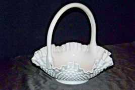 White Hobnail Basket with Handle AA20-2304 Vintage