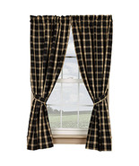 Belle Haven new Black/tan lined Window Curtains - $59.99
