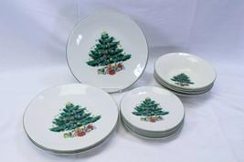 GEI Xmas Tree 3 Dinner Plates 4 Salad Plates 4 Bowls - $44.05