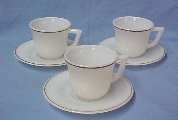 White Milk Glass Depression Demitasse Cup & Saucers Gold Trim Rare Collectible - $19.57