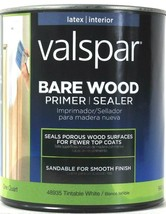 1 Can Valspar 32 Oz Bare Wood 48935 Tintable White Latex Interior Primer... - $21.99