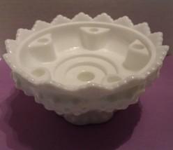 Vintage Fenton Hobnail White Milk Glass 6 Candle Holder Centerpiece  - $12.34