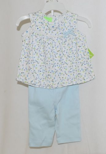 SnoPea Two Piece Flowered Sleeveless Shirt Light Blue Pants Size 9 months