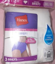 NEW Hanes Cotton 3 pack Briefs White Size 3XL/10 factory sealed - $3.00
