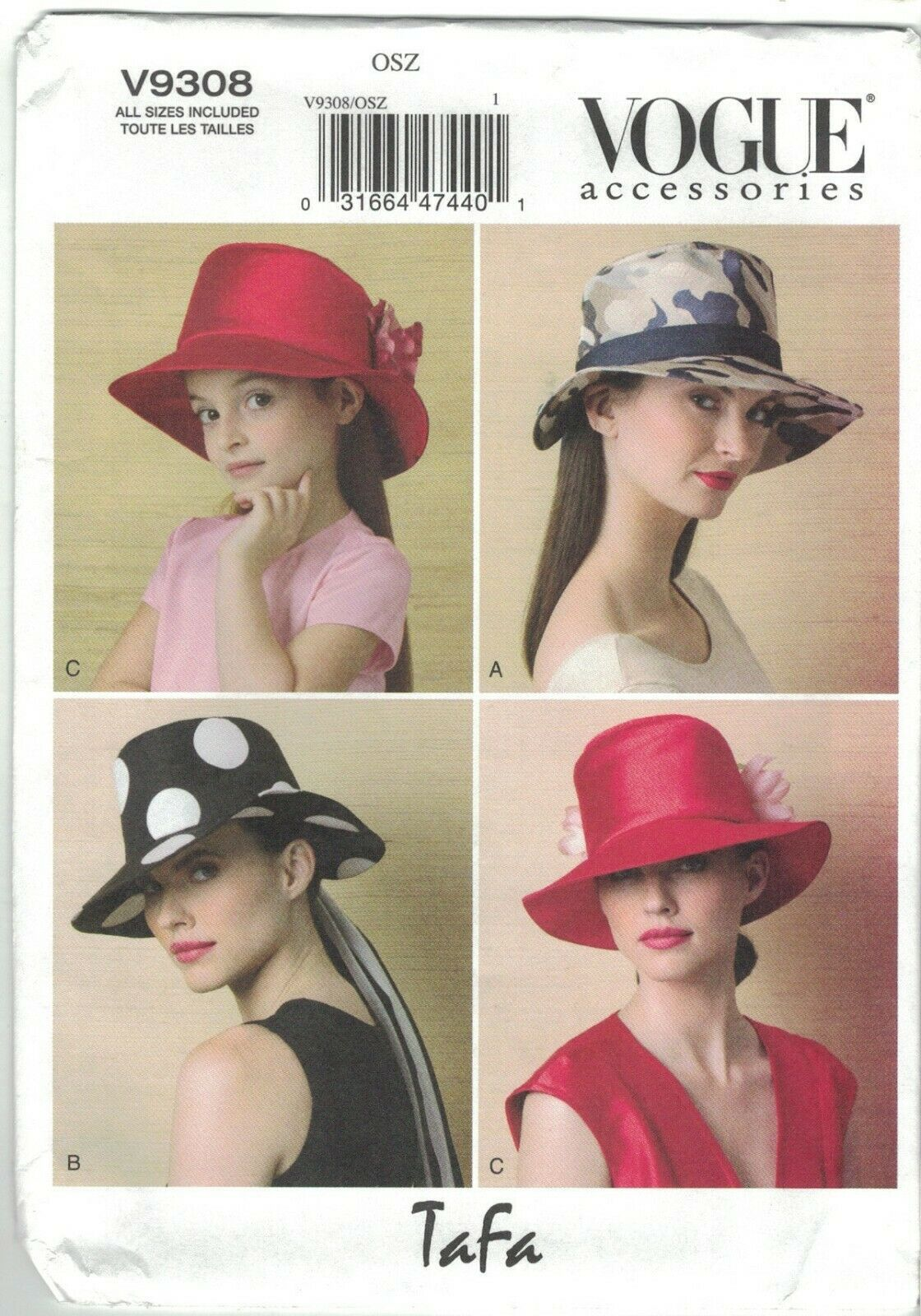 Primary image for Vogue 9308 Tafa Wide Brimmed Hats With Ribbon Trim Misses and Children's Sizes