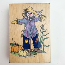 1994 Hero Arts Pumpkin Patch Scarecrow Rubber Wooden Mounted Stamp - $8.90