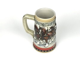 Vintage Budweiser Beer Stein 1988 Holiday Mug Christmas Collection Horse... - $10.91