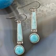 Sterling Silver Larimar Dangle Earrings For Women - $86.00