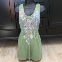 GREEN GRAPHIC TUNIC DRESS TOP S Fall Fashion - $24.00