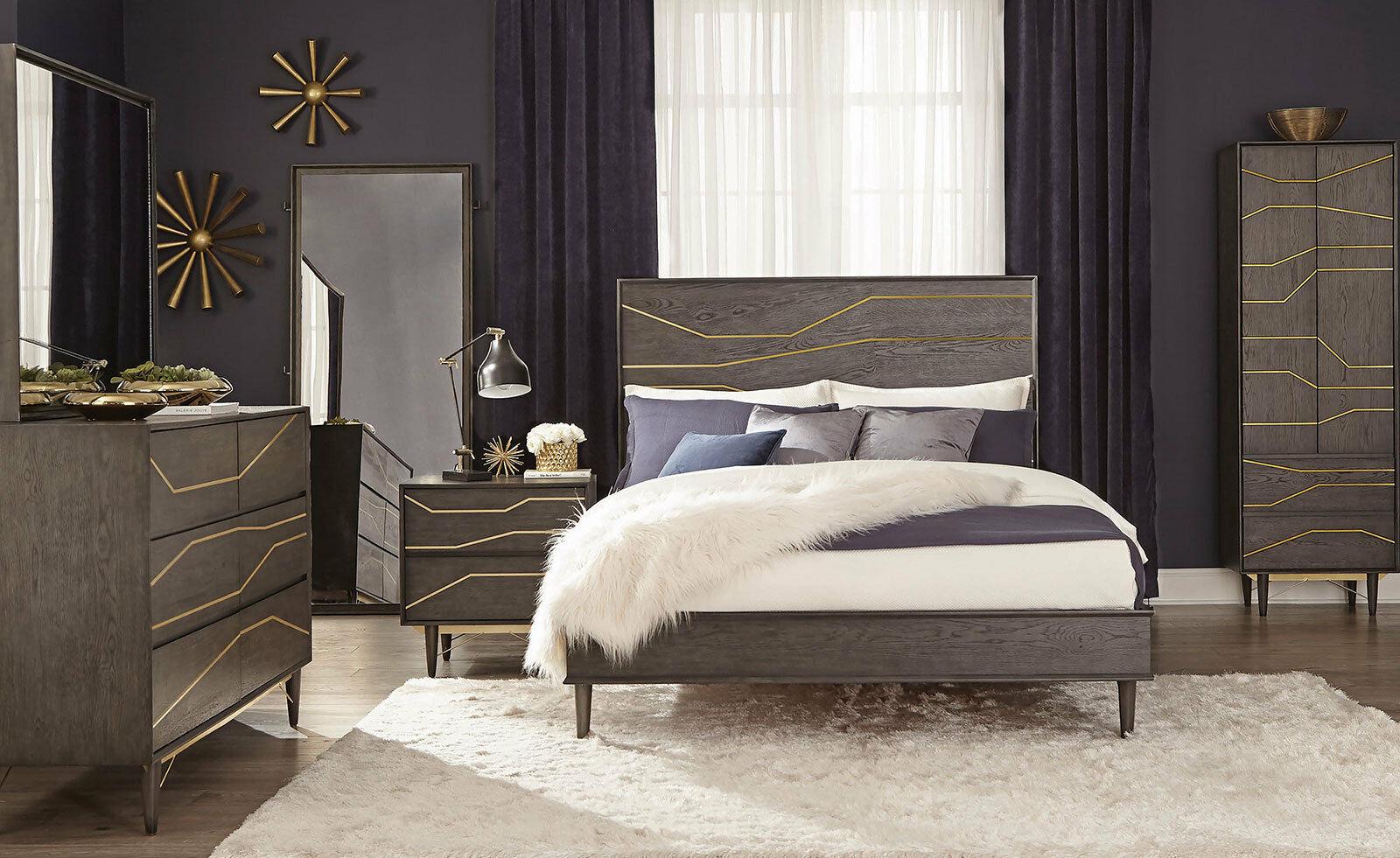 New westin modern gray mahogany 5 pieces bedroom furniture - Mahogany bedroom furniture contemporary ...