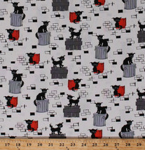 Alley Cats Kittens Trash Cans Oona Gray Cotton Fabric Print by the Yard ... - $11.95