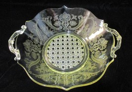 Lancaster Landrum Serving Bowl Gold Depression Glass Cane w/ Handles Vin... - $24.74