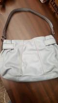 Tignanello Bluish Grey Leather Shoulder Bag Organizer Hobo Buckle Accent, EUC  image 2