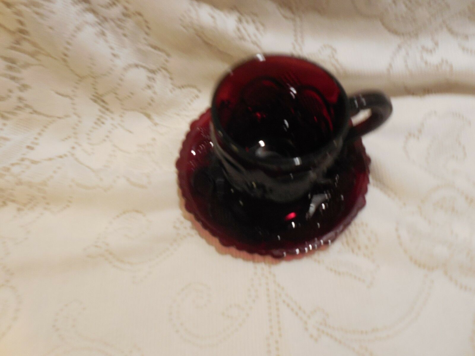 Avon 1876 Ruby Red Cape Cod: Cup (Avon 75-90) and Saucer