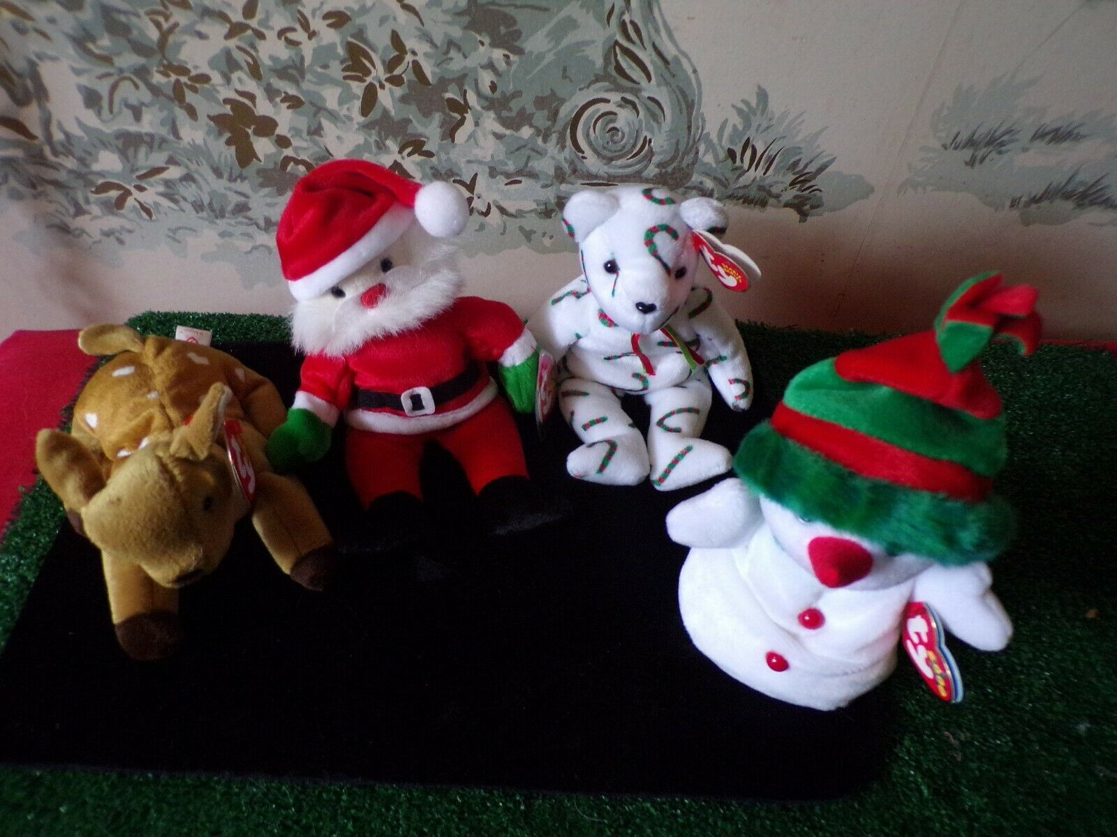 4 TY Beanie Babies Christmas/holiday-Santa/Snowman/Reindeer/bear with tags image 2