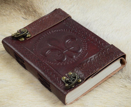 Hand Bound Supple Embossed Real Leather Fleur-de-Lis Journal w 2 Brass C... - $41.53