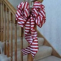 "10"" W RED & White Candy Cane Stripe Bow for Tree Topper, Gifts, Decor - $23.92"