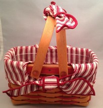 Longaberger 1998 Sweetheart Picture Perfect Basket Combo Red Ticking Fabric  - $24.50