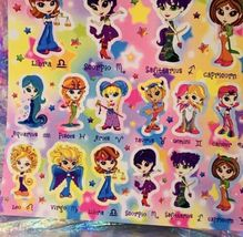 Vintage Lisa Frank Sticker Sheet Zodiac Horoscope Astrology Girls Complete image 3