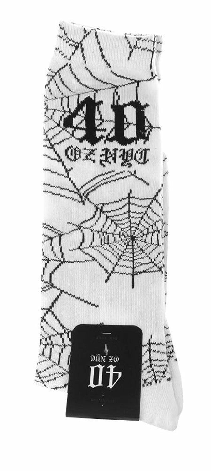 40 Oz Forty Ounce NYC New York 1 Pair of White Spider Web Crew Socks NWT