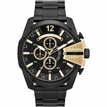 Diesel DZ4338 Mega Chief Black IP with Gold Accents Mens Watch - $140.71 CAD