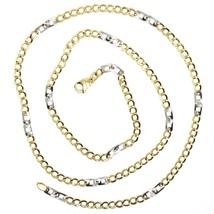 Cadena Oro Amarillo Blanco 750 18K, 50 cm, Groumette Plana y Cuadrado, 3 MM image 2
