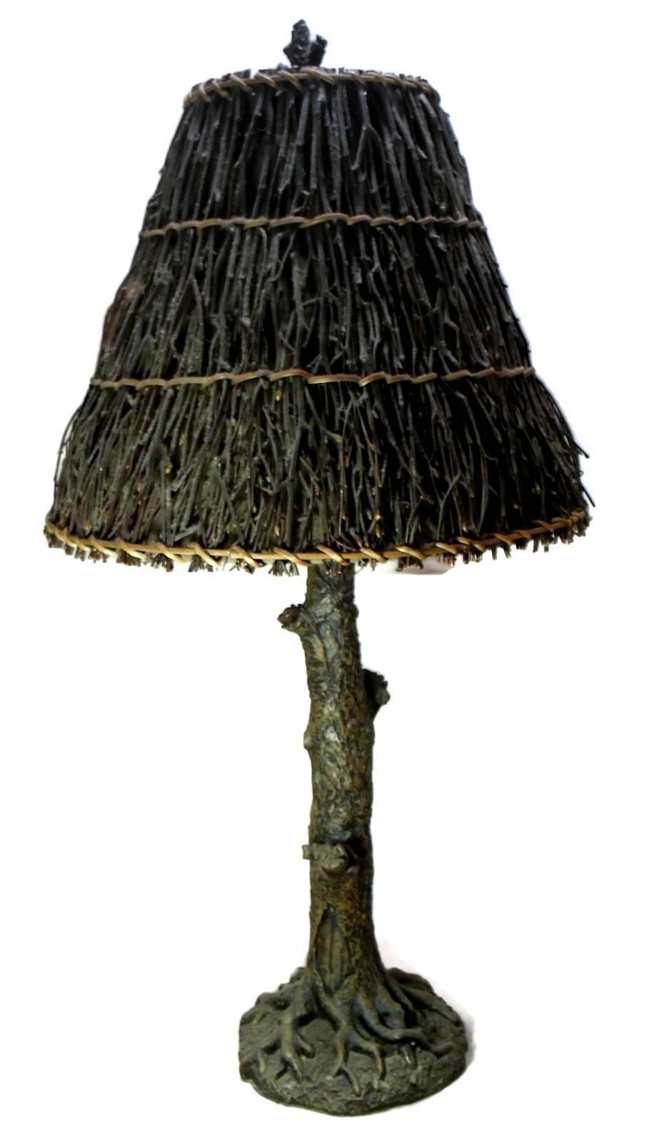Lamp Tree Trunk Resin Twig Shade Wood Brown
